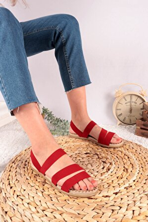 Moda Eleysa Madonna Üç Bant Lastikli Kırmızı Sandalet