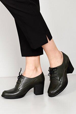 G.Ö.N Kadın Hakiki Deri Siyah Kadın Klasik Topuklu Ayakkabı
