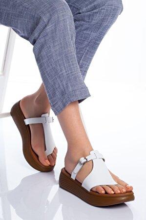 Stilbu Cora Deri Sandalet Beyaz