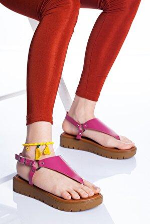 Ayakkabı Frekansı Kadın Pembe Alix Deri Sandalet