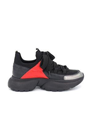 Bestello Kadın Gri Bağcıklı Poliüretan Taban Casual Ayakkabı