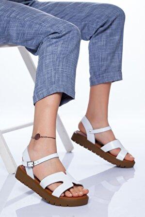 Ayakkabı Frekansı Nancy Hakiki Deri Sandalet Beyaz