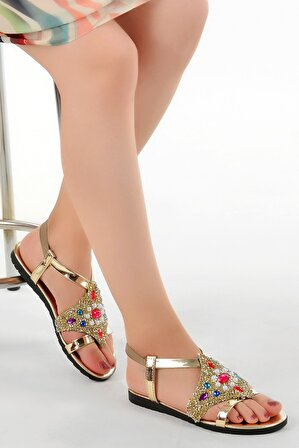 Ayakland Kadın Altın Renk Primo 13 Günlük Taşlı Rugan Sandalet
