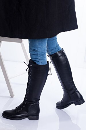 Ayakkabı Frekansı Kadın Siyah Cilt Asena Çizme