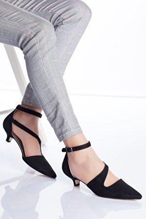 Ayakkabı Frekansı Kadın Siyah Süet Costa Topuklu Ayakkabı