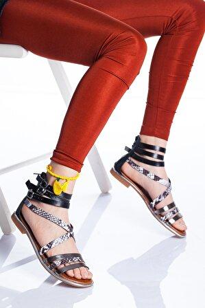 Ayakkabı Frekansı Vera Kadın Siyah Deri Sandalet