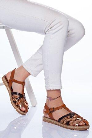 Ayakkabı Frekansı Kadın Taba Desenli Holle Deri Sandalet Mix2