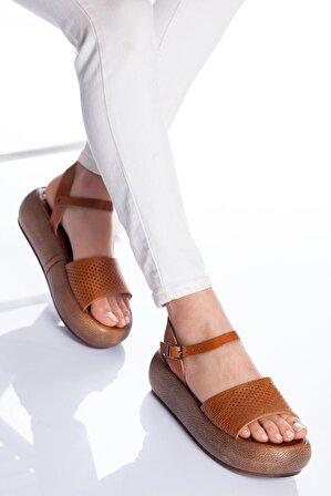 Ayakkabı Frekansı Kadın Taba Loren Deri Sandalet