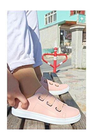 MODA GUNEŞ Kadın Pudra Kalın Bağcıklı Sneaker