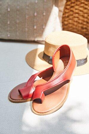 Arma Shoes Kadın Kırmızı Parmak Arası Sandalet