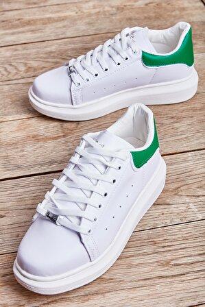 Bambi Beyaz Yeşil Cilt Kadın Sneaker