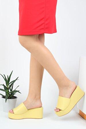 Modabuymus Sarı Dolgu Topuklu Hafif Kadın Terlik – Werly