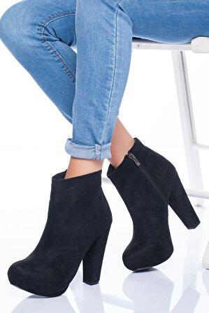 Ayakkabı Frekansı Kadın Siyah Leydi Topuklu Süet