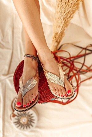 Limoya Kadın Natalie Roze Yaprak Detaylı Parmak Arası Sandalet