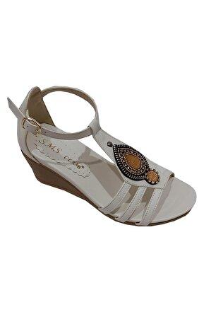 SMS Kadın Platin Trend Fashion Taşlı Sandalet 1034
