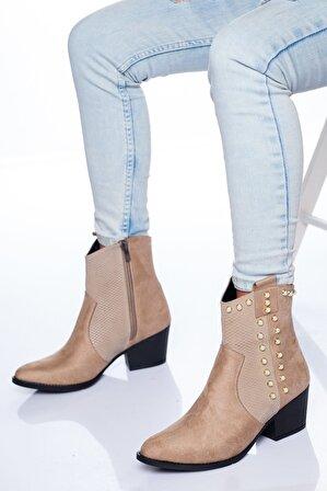 Ayakkabı Frekansı Kadın Bej Süet Bot