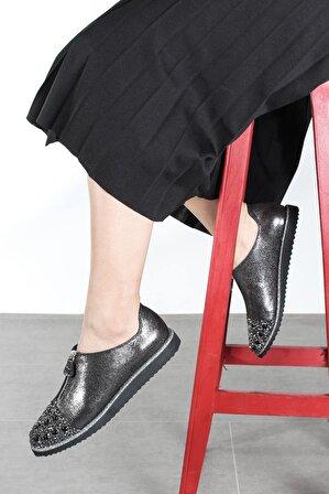 FAST STEP Hakiki Deri Çelik Saten Floter Kadın Casual Ayakkabı