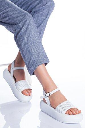 Ayakkabı Frekansı Loren Deri Sandalet Beyaz
