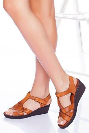 The Rok Store Kadın Taba Hakiki Deri Ortopedik Sandalet