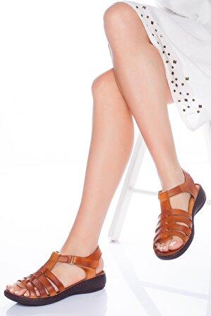 The Rok Store Kadın Taba Rengi Hakiki Deri Ortopedik Sandalet