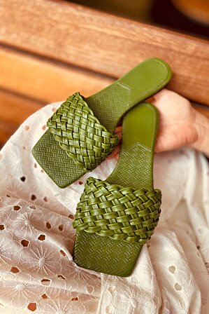 LAMİNTA Kadın Yeşil Örgü Detay Terlik