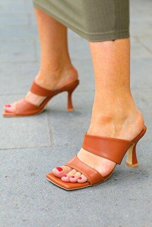 Nizar Deniz Darlene Taba Mat Çift Bant Sandalet 9cm Topuklu Kadın Ayakkabı