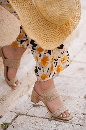 Stil Durağı Kadın Hasır Lemina Model Topuklu Hasir Terlik 5 cm
