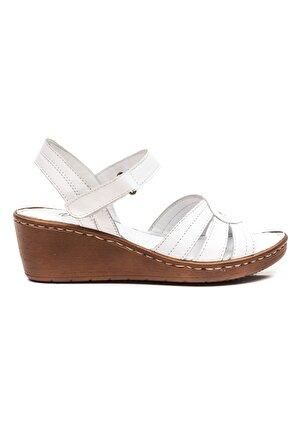Zeynep Sıradağlı Sancha Kadın Deri Sandalet Beyaz