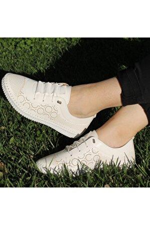 BY MOODA Kadın Bej Rahat Spor Ayakkabı
