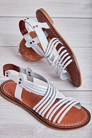 Bambi Hakiki Deri Beyaz Kadın Sandalet