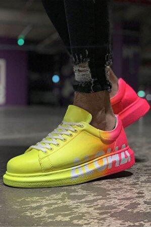 Chekich Erkek Sarı Pembe Desenli Sneaker