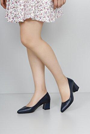 G.Ö.N Gön Hakiki Deri Kadın Topuklu Ayakkabı