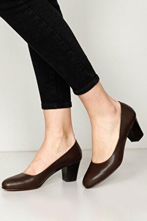 G.Ö.N Kadın Kahverengi Hakiki Deri Topuklu Ayakkabı 77164