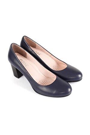 G.Ö.N Kadın Lacivert Hakiki Deri Topuklu Ayakkabı 77203
