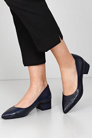 G.Ö.N Kadın Koyu Lacivert Hakiki Deri Topuklu Ayakkabı