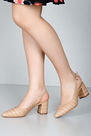 G.Ö.N Kadın Bej Hafif Çizgili Topuklu Ayakkabı 38921