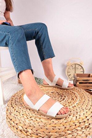 Moda Eleysa Hyl Comfort Beyaz Tek Bant Kadın Sandalet