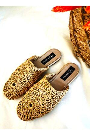Nemesis Shoes Merita Kadın Örgü Bej Terlik
