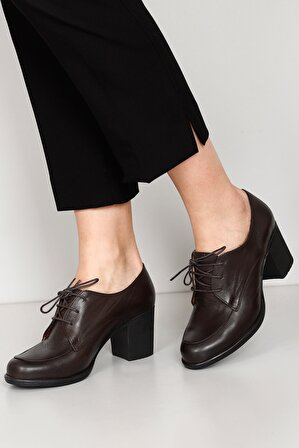 G.Ö.N Hakiki Deri Kahve Kadın Klasik Topuklu Ayakkabı 24071
