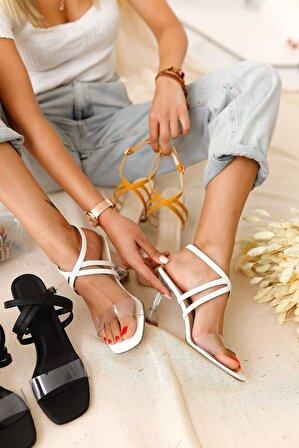 Limoya Remi Beyaz Şeffaf Bantlı Şampanya Topuklu Sandalet
