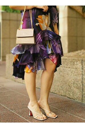 Nemesis Shoes Kadın Bej Topuklu Terlik