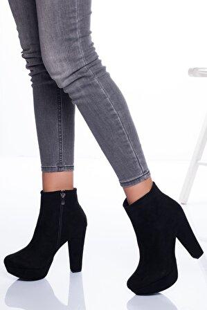 Ayakkabı Frekansı Kadın Siyah Süet Bot