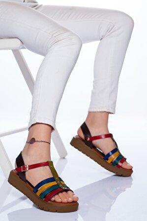 Stilbu Alya Hakiki Deri Sandalet Mix