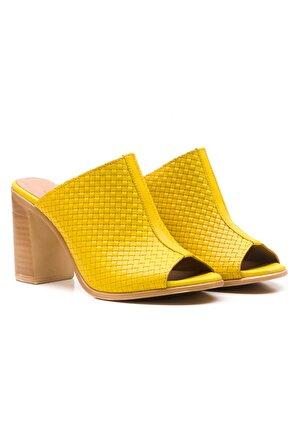 LuviShoes Kadın Sarı Topuklu Terlik