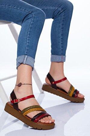 Ayakkabı Frekansı Kadın Kahverengi Coretta Deri Mix Sandalet