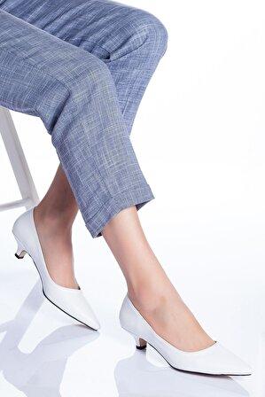 Ayakkabı Frekansı Kadın Beyaz Odella Topuklu Ayakkabı Cilt