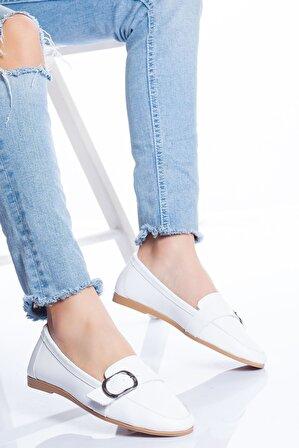 Ayakkabı Frekansı Kaley Hakiki Deri Babet Beyaz