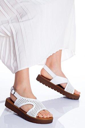 Ayakkabı Frekansı Kadın Beyaz Haley Hakiki Deri Sandalet