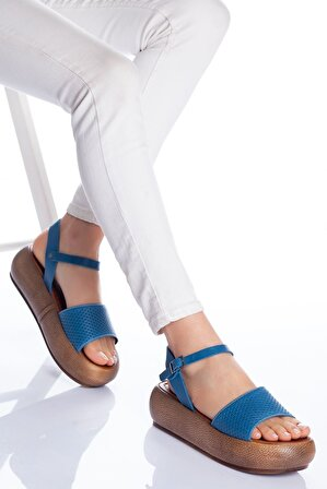 Ayakkabı Frekansı Loren Deri Sandalet Mavi