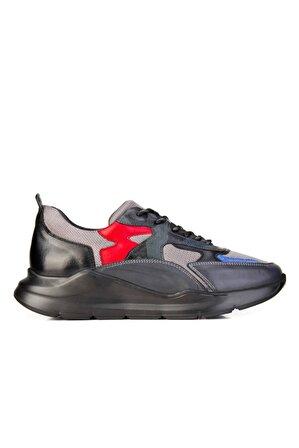 Cabani Erkek Gri Hakiki Deri Lnrddo Light Taban Bağcıklı Günlük Ayakkabı